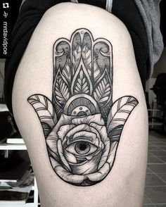 #Repost @mrdavidpoe from @moontattoostudio in Austin, Texas・・・ Hamsa/Hand of…