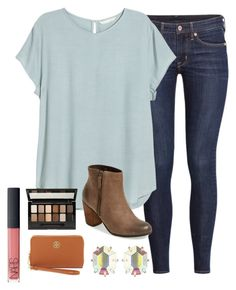 """OOTD"" by prep-lover1 ❤ liked on Polyvore featuring H&M, BP., Kendra Scott, Maybelline, NARS Cosmetics and Tory Burch"