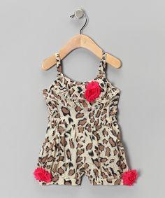 $33 Beige Cheetah Rosette Romper - Infant, Toddler & Girls