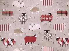 Baa Baa Sheep Cotton Fabric Peony - Curtains and Upholstery - The Millshop Online