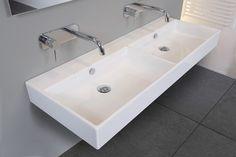 Ink Unlimited dubbele wastafel 140x45 cm   badkamer   bathroom   double sink   bewonen.nl