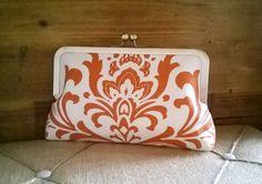 Orange Fall Themed Bridesmaid Clutches, Wedding Bags, Handmade