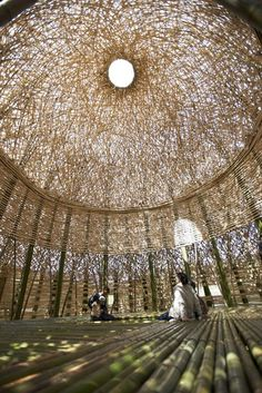"Photo: Kimito Takahashi. ""Light of Shodoshima"": giant dome constructed of 5,000 island-grown bamboo trees, and illuminated at night by LEDs."