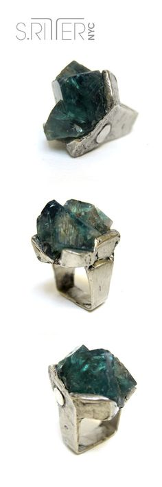 twinning variable green fluorite ring.... ah. another reminder of the eternal spring to come. || raw natural stone rings || SRitterNYC.com