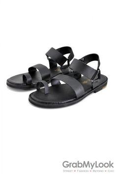 d986732e04910a GrabMyLook Leather Straps Mens Roman Gladiator Sandals Shoes Men s Sandals