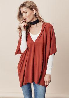 Cella Poncho Sweater - sz sm/md in terracotta