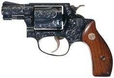 Factory Engraved and Gold Inlaid Smith & Wesson Model 36 Chief's Special Double Action Revolve