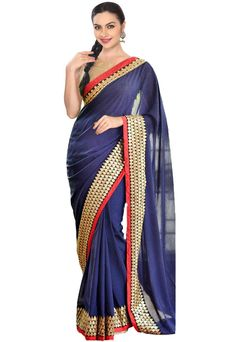 Charming Navy Blue Saree