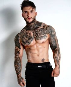 Sexy Tattooed Men, Tatted Men, Hot Guys Tattoos, Inked Men, Poses For Men, Male Physique, Men's Grooming, Attractive Men, Muscle Men