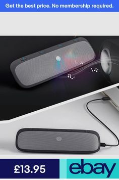 Calls Good voice Car Speakerphone AUTO Power ON Wireless in Car Speaker Handsfree Sun Visor Car Kit Portable Enhance Bass Build in Mic Car Charger for All Smartphone Support Music Streaming