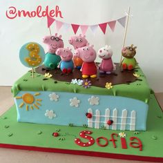 Pastel de Cumpleaños de Familia Pig, Peppa Pig y George Pig, Pedro Pony y Susy Oveja // Pig Family birthday cake, Peppa and George Pig, Pedro Pony and Susy Sheep