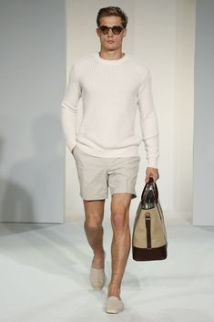 Shop this look on Lookastic:  http://lookastic.com/men/looks/cable-sweater-shorts-espadrilles-tote-bag-sunglasses/11058  — Brown Sunglasses  — White Cable Sweater  — Beige Shorts  — Tan Canvas Tote Bag  — Beige Canvas Espadrilles