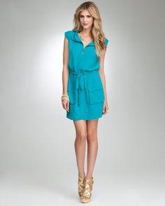 bebe Zipper Front Cinched Shoulder Dress