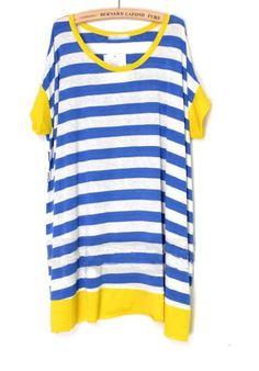 Yellow and Blue Block Striped Round Neck Bat Short Sleeve T-shirt
