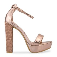 Rose Gold Chrome Sandal - Shoes   YDE Rose Gold Chrome, South African Fashion, Toe Shape, Block Heels, Open Toe, Shoes Sandals, High Heels, Footwear, Lady