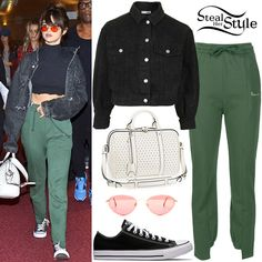 Selena Gomez was spotted arriving at Tokyo International Airport wearing a Sami Miro Vintage Harley Davidson Cropped Jacket (Not available online), Vetements Sweatpants ($665.00), a Louis Vuitton White Perforated SC PM Bag ($4,400.00), Caviar Midas Series 8863 C21 Sunglasses ($299.00) and Converse All Star Chuck Taylor Low Top Sneakers ($50.00). You can find a similar jacket for less at River Island ($34.00) and Topshop ($85.00 – pictured).