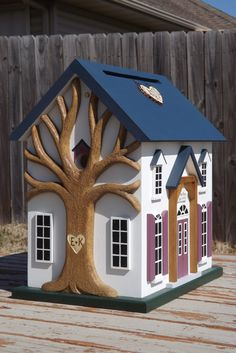 Items similar to Large Wedding Card Box Birdhouse with Heart Carved Tree on Etsy Birdhouse Designs, Carpentry Projects, Tree Carving, Bird Boxes, Small Buildings, Card Box Wedding, Fairy Houses, Little Houses, Bird Feeders