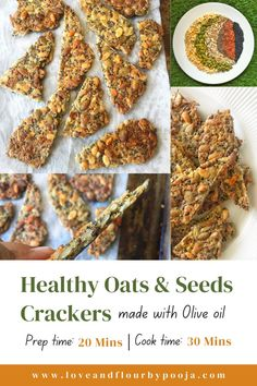 Loaded with healthy nuts and seeds, these homemade 'crackers' are tasty, crisp & salty, and go very well with dips too. I like to add a mix of seeds like Pumpkin, Sunflower, Melon, Sesame, Flax, Fennel, Nigella, etc. Chia seeds help to bind the mix together. You could add dried herbs like thyme, parsley, basil, or even spices to make this even more interesting! Read this easy oats & seeds cracker recipe on my blog.   Best Gluten-free, Low carb & keto cracker   Multi Seed cracker recipe Seed Crackers Recipe, Cracker Recipe, Healthy Nuts And Seeds, Homemade Crackers, Eggless Baking, Most Popular Recipes, Quick Snacks, Tea Cakes, Low Carb Keto