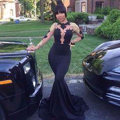 high neck black gold prom dresses
