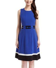 Look at this #zulilyfind! Royal Blue & Black Color Block Belted Sleeveless Dress #zulilyfinds