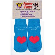 Woodrow Wear Power Paws Advanced, Extra Small, Blue/Red Heart, 1.38 inch - 1.75 inch x 1.38 inch x 1.75 inch