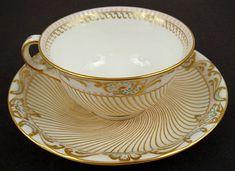 Antique Copelands Jeweled Tea Cup & Saucer