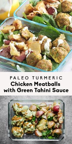Sheet pan Paleo Turmeric Chicken Meatballs with roasted potatoes, onions and a creamy green herb tahini sauce. Delicious, super easy and great for meal prep! #chickenmeatballs #ambitiouskitchen
