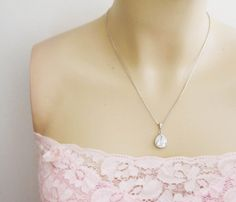 Wedding Jewelry Bridal Jewelry Bridal Necklace Clear White LUX Cubic Zirconia Tear drops Necklace. $29.80, via Etsy.
