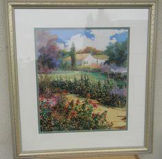THOMAS DEDECKER FRAMED PRINT Garden Path OPEN EDITION EXCELLENT CONDITION 24X22 #Impressionism