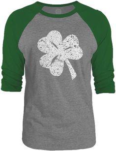 Big Texas Distressed Shamrock (White) 3/4-Sleeve Raglan Baseball T-Shirt