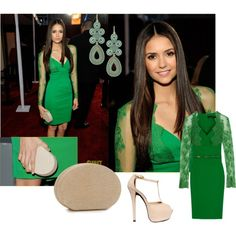 Nina Dobrev, created by thebeautifulfreedom on Polyvore featuring the Stella & Dot - Capri Chandelier Earrings in Turquoise