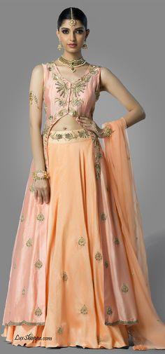 Blush & Peach Long Jacket Lehenga, Shilpa Reddy - Lux Shoppe – LuxShoppe.com