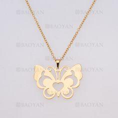 collar de mariposa de dorado en acero inoxidable-SSNEG954238