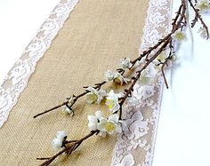 Burlap table runner wedding table runner with soft pink vintage  inspired lace ,rustic wedding runner, handmade in the USA