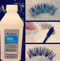 isopropyl alcohol and a disposable mascara wand to clean glue off of false eyelashes. Use isopropyl alcohol and a disposable mascara wand to clean glue off of false eyelashes. Beauty Secrets, Diy Beauty, Beauty Makeup, Makeup Art, Beauty Products, Fake Eyelashes, False Lashes, How To Clean Eyelashes, False Eyelashes Tips
