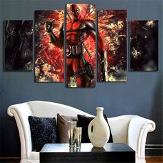 Deadpool LIMITED EDITION Comic 5 Piece Canvas Deadpool Gifts, Babe, Tapestry, Comics, Canvas, Prints, Painting, Home Decor, Hanging Tapestry