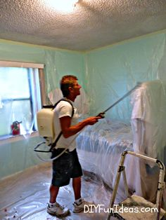How to remove popcorn ceilings in less time with LESS CELAN UP!!!