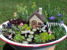 Fairy Garden Enamel Basin