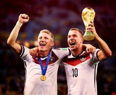 Bastian Schweinsteiger and Lukas Podolski World Cup 2014 World Cup Winners, World Cup 2014, Fifa World Cup, Germany Football Team, Lukas Podolski, World Cup Trophy, German National Team, Soccer Academy, Word Cup