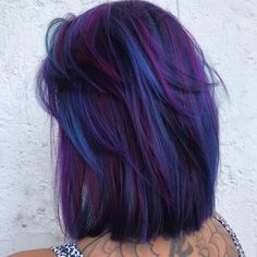 Contact your new hairstylist today through EEVOY. Best Picture For short purple hair Galaxy Hair Color, Bold Hair Color, Pretty Hair Color, Hair Dye Colors, Ombre Hair Color, Galaxy Colors, Purple Hair Highlights, Weird Hair Colors, Punk Hair Color