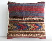 "16""navy blue red arrow Handwoven Kilim Pillow Throw Pillow kilim cushion cover decorative throw pillow turkish pillow kilim rug pillow case"