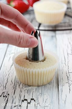 A tutorial on how to fill a cupcake center