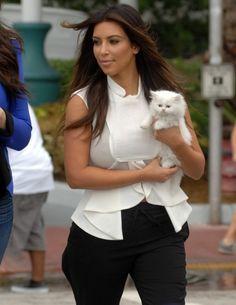 Kim Kardashian in Miami Beach with New Persian Kitten Mercy #furry little creatures