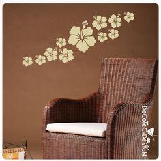 Hibiskus Blumen Wandtattoo Wandaufkleber Blüten Retro 63 Motive 41 Farben W070