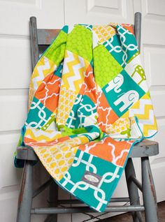 Baby Blanket Modern Baby Quilt Bright Colors by GiggleSixBaby