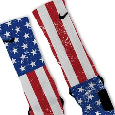 American Flip USA Flag Patriotic Custom Nike Elite Socks