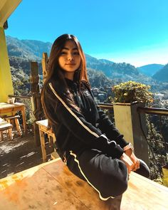Image may contain: 1 person, mountain, sky, outdoor and nature Home Studio Photography, Girl Photography, Ideal Girl, Mickey Mouse Wallpaper, Phone Wallpaper Images, Mobile Legend Wallpaper, Uzzlang Girl, Mobile Legends, Dark Anime