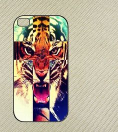 Tiger hipster cross Iphone 4 case, iphone 4s