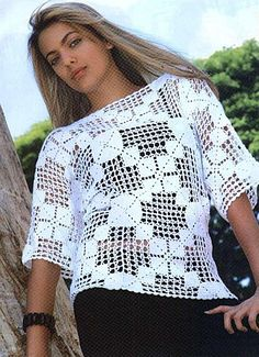 White 3/4 Length Sleeve with Square Motif free crochet graph pattern