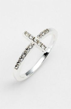 Silver & diamond cross ring